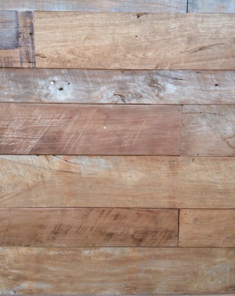 rewood teaks dunne planken wandbekleding 1 cm dikte, gerecycled