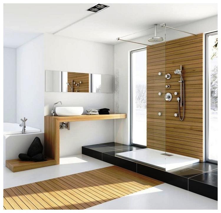 moderne badkamer hout. Foto geplaatst door Kwyns op Welke.nl