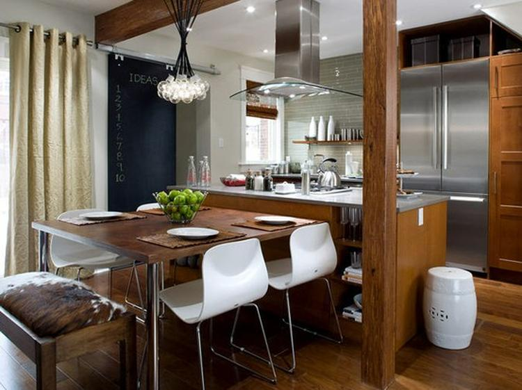 Leuk idee voor kleine keuken/ woonkamer mooie combi hout met wit ...