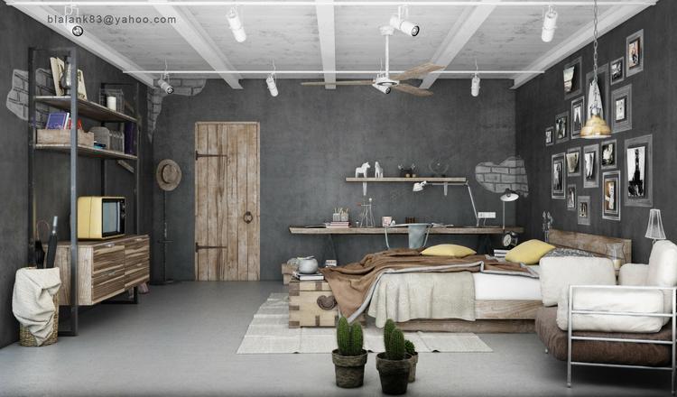 Mooi totaalplaatje van slaapkamer met industrieel interieur. Foto ...