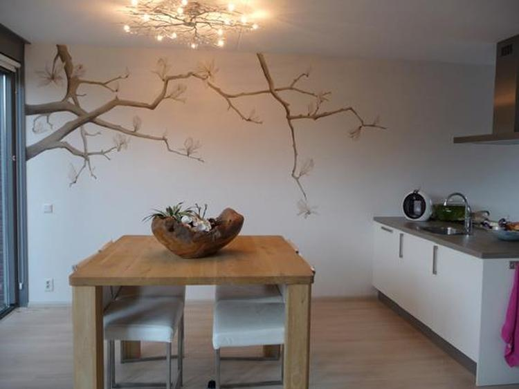 magnolia bloem tak muurschildering woonkamer eetkamer woonkeuken ...