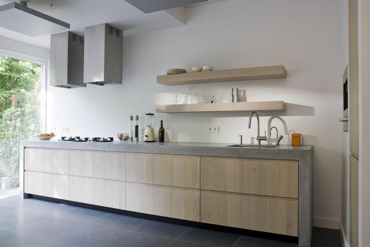 Keuken Met Beton : Moderne keuken met betonnen keukenblad door het robuuste betonnen