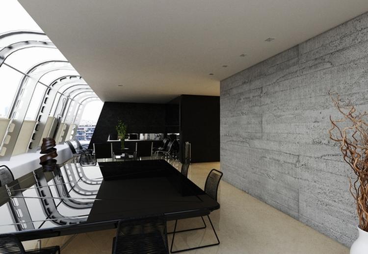 Wanddecoratie met Polyester platen met steencoating. Binnen en ...