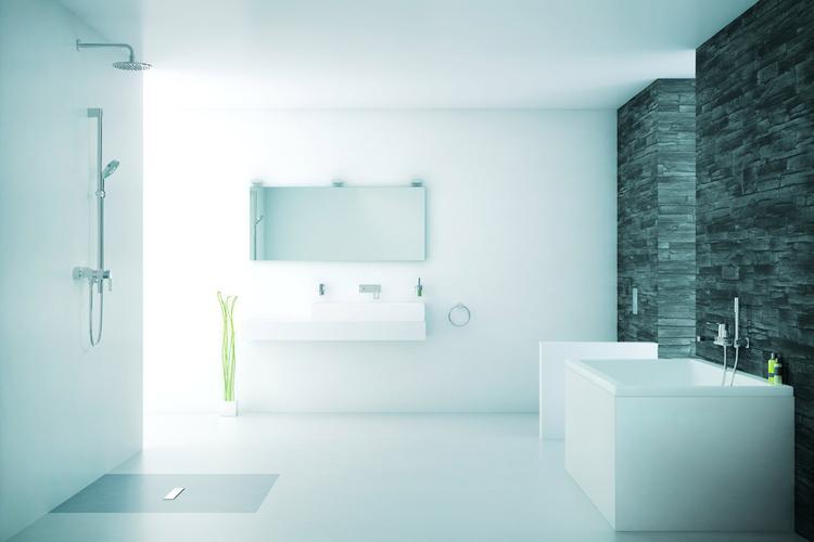 Minimalistische badkamer met reliëfmuur . deze badkamer ademt rust