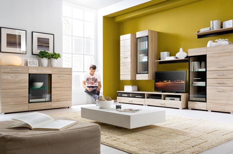Moderne woonkamer uitgevoerd in de kleur sonoma eiken foto