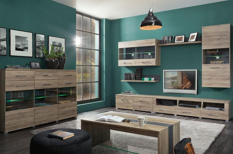 Moderne complete woonkamer gemaakt van gelamineerd plaatmateriaal in ...