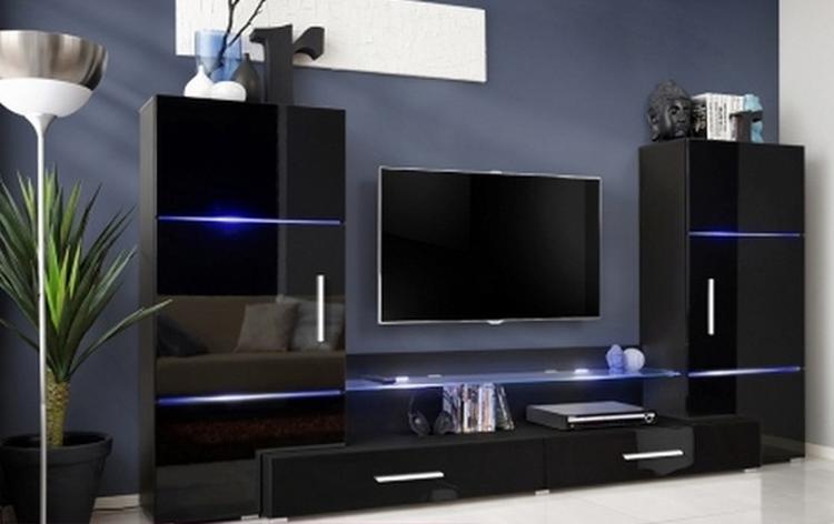 hoogglans zwart tv-wandmeubel voorzien van glazen legplanken en led ...