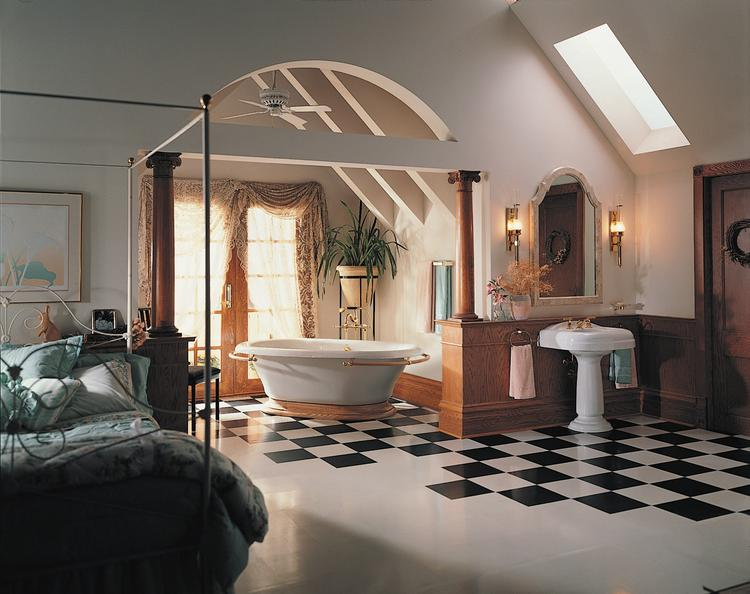 Nostalgische bed- badkamer met moderne accenten. Hoewel de ...