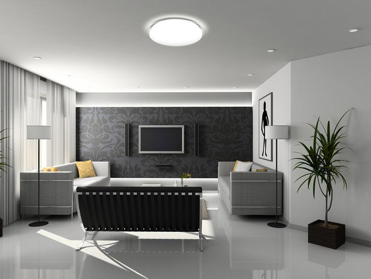 Super strakke design woonkamer met verlichting van DALEN Tech. Foto ...