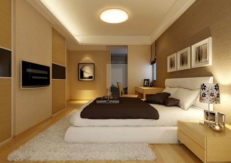 mooie stijlvolle slaapkamer met lamp aan het plafond van dalen