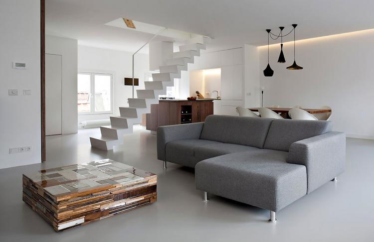 Prachtige moderne woonkamer en keuken. Strak uitgevoerd met witte ...