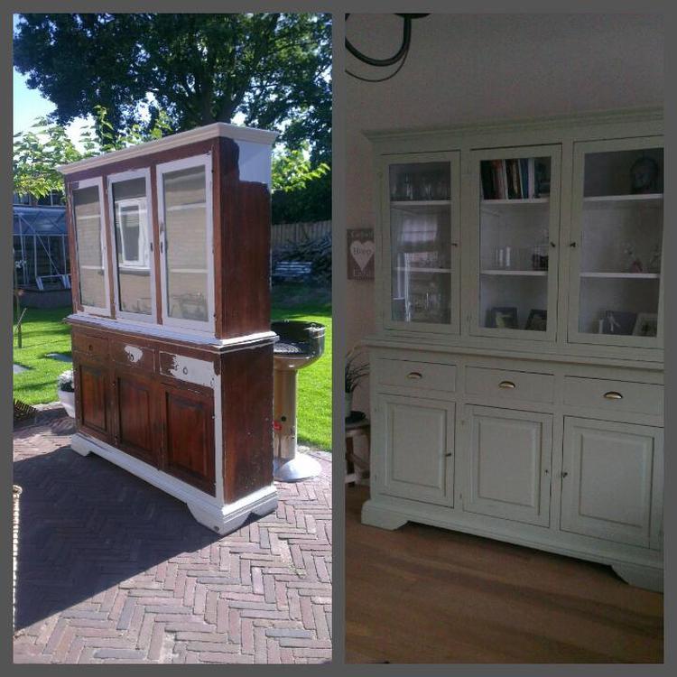Prachtige Antieke Kast Opgeknapt Verf Is Oud Groen Foto