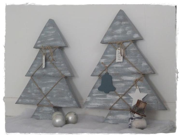 Mooie Landelijke Kerstboom Van Hout Verkrijgbaar In Wit En Grijs
