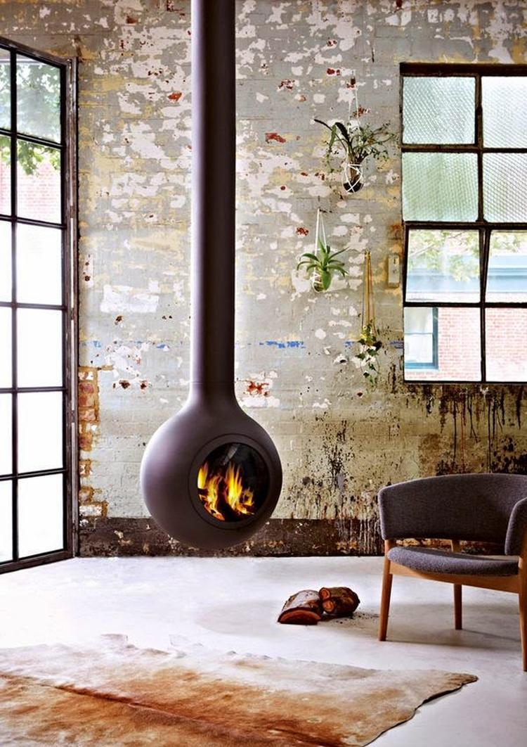 industrieel interieur woonkamer industrile kachel haard winter