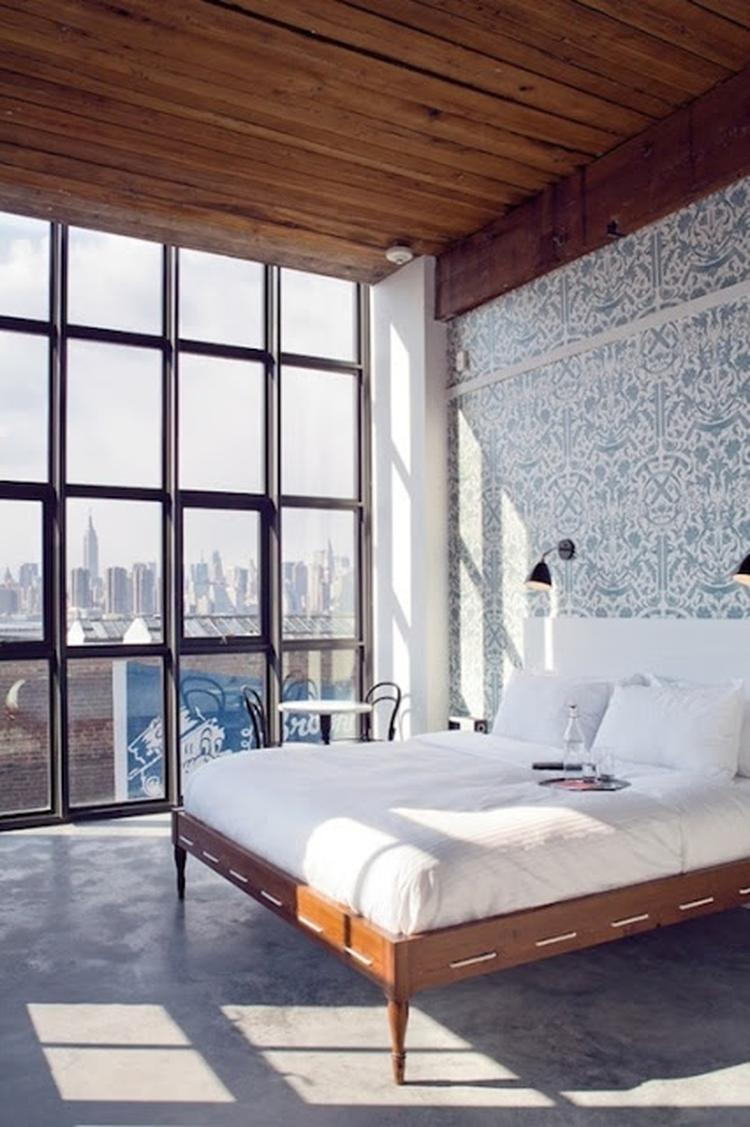 Industriële vloer - industrieel interieur - industriële slaapkamer ...