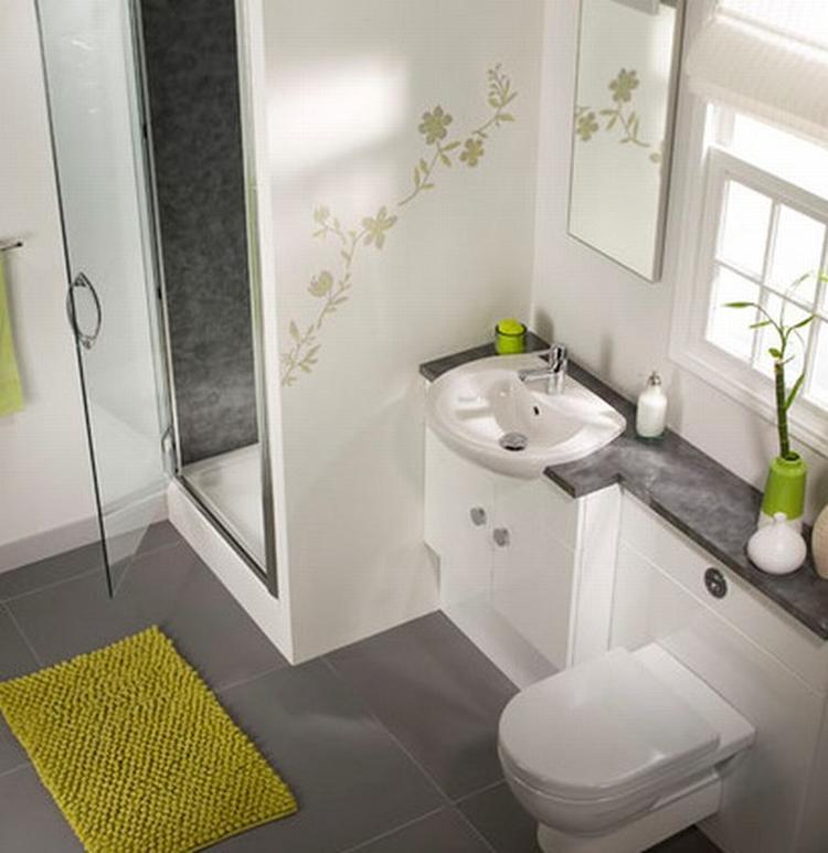 Kleine badkamer met toilet. De bloemetjes op de muur zijn een ...