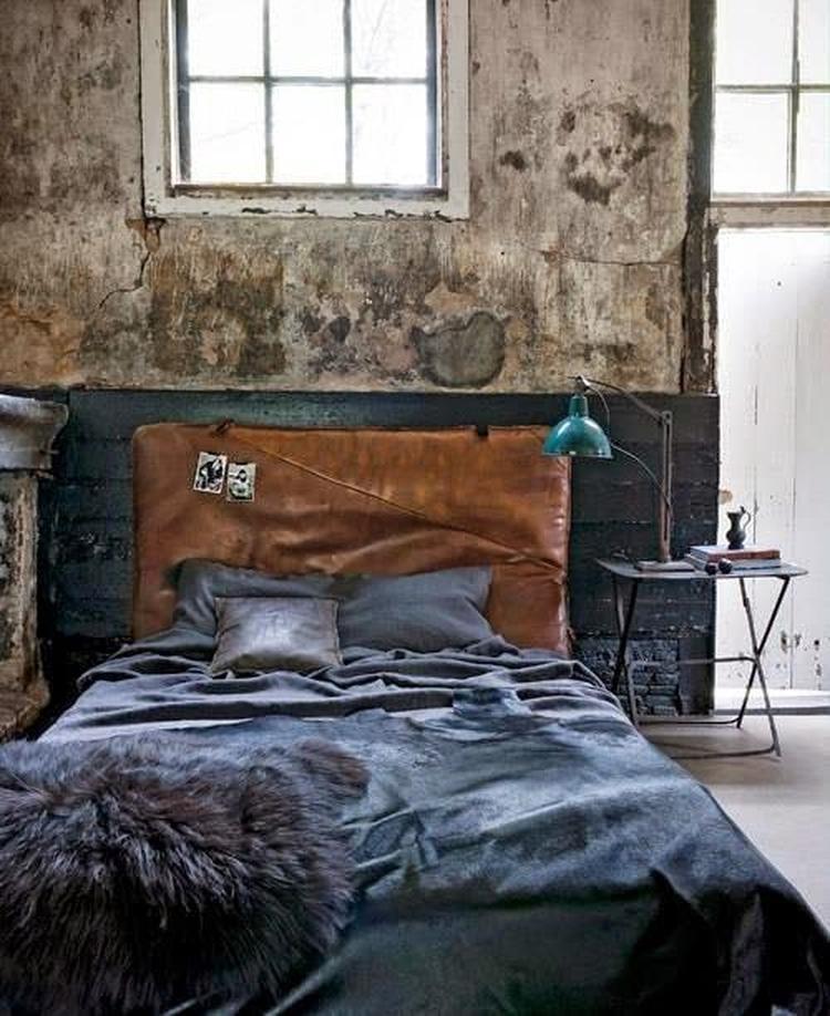 industrieel interieur - blauw - industriële slaapkamer. foto, Deco ideeën