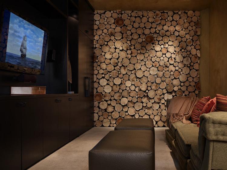 Een wand in de woonkamer beplakt met plakjes hout. Foto geplaatst ...