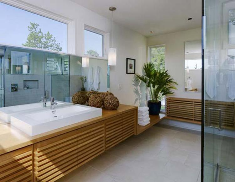 Mooie Moderne Badkamers : Moderne badkamer met veel hout. mooie badkamer waar veel hout is