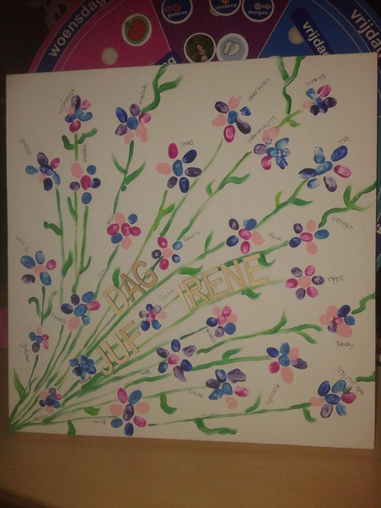 Top Afscheid cadeau voor juf! Bloemen van vingerafdrukken en houten &ME15