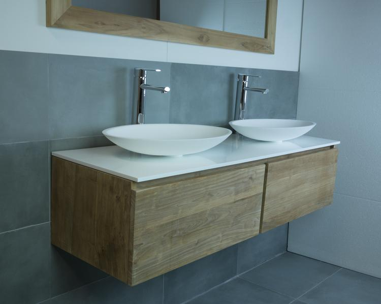 Badkamermeubel hout, solid surface afdekplaat, solid surface ...