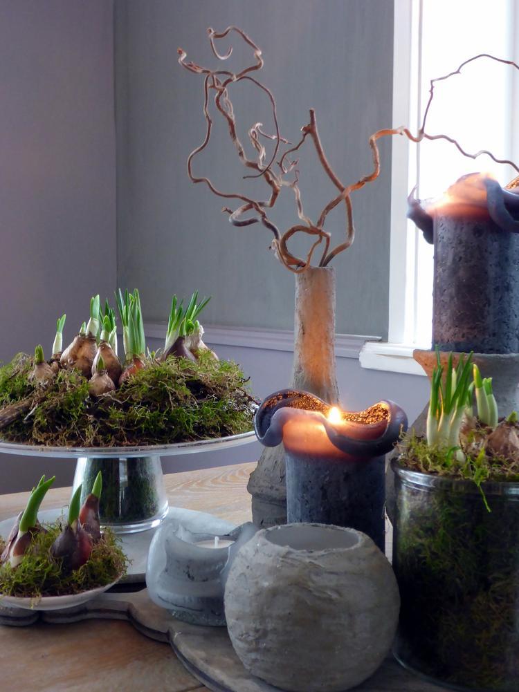 voorjaar landelijk natuurlijk kaarsen eettafel woonkamer