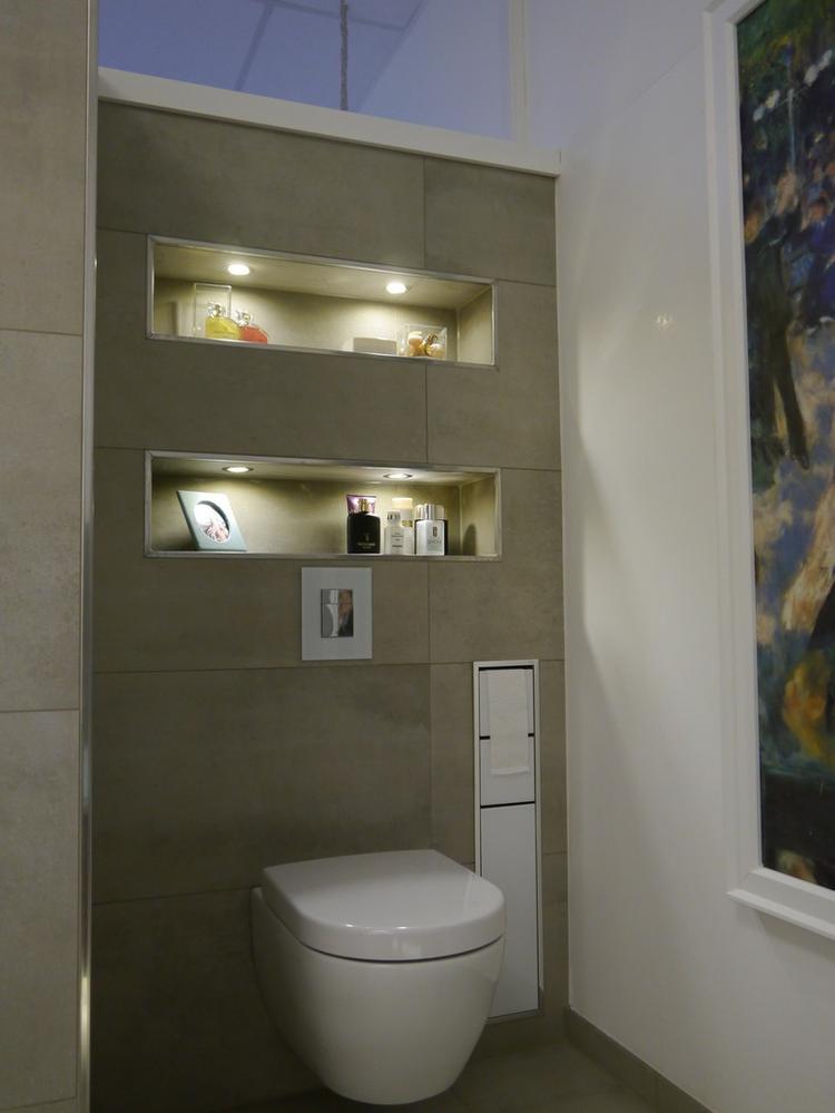 Idee voor de WC, let ook op de verlichting. Foto geplaatst door ...
