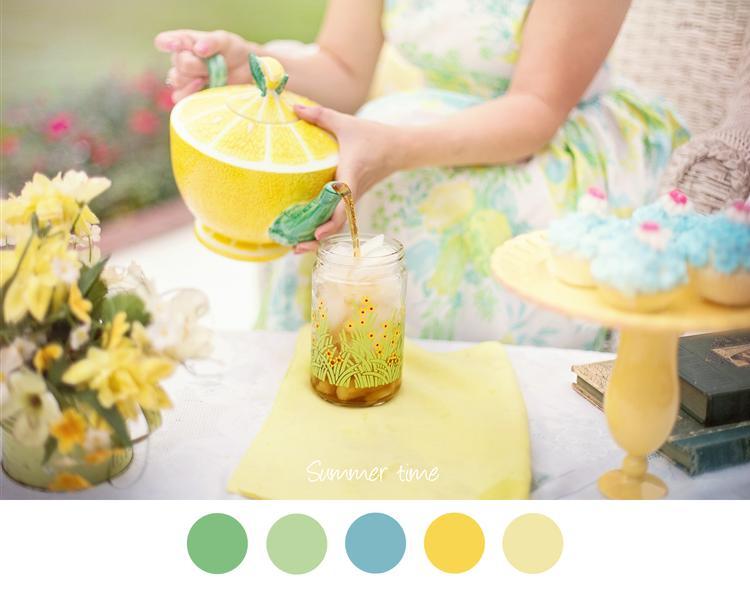 SUMMER TIME - Zachte zomer tinten geel, blauw en groen. Thee ...