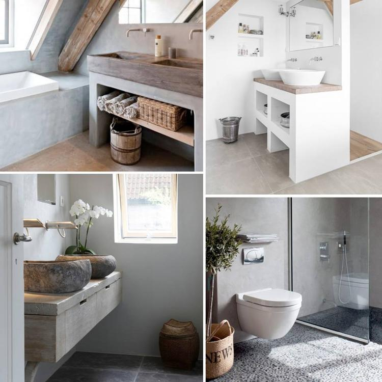 mooie badkamers bewerkt met natuurlijke materialen en aardetinten