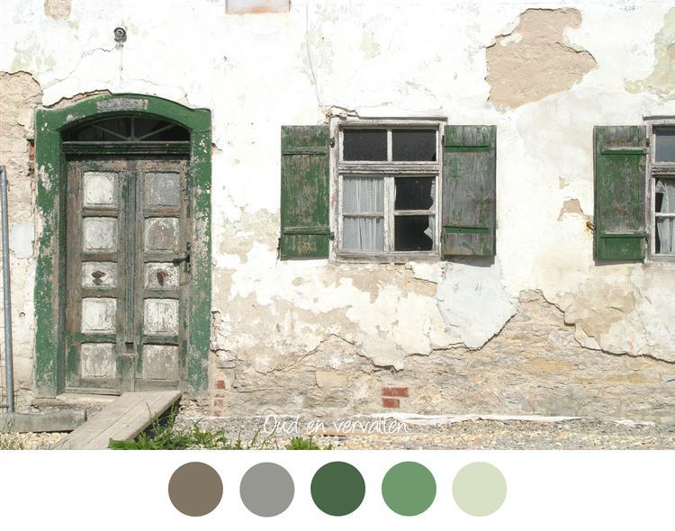 Oud vervallen oud huis met vervallen deur en luiken bruin
