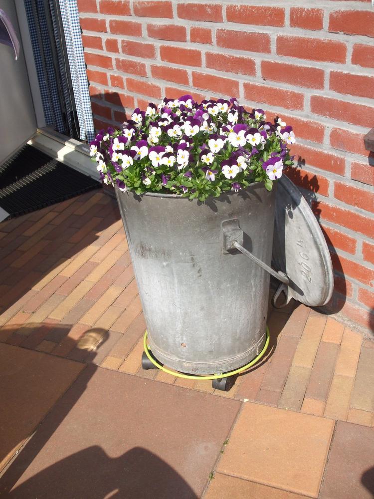 Latest good oude zinken prullenbak gaatjes gemaakt in de for Balkon bloembak