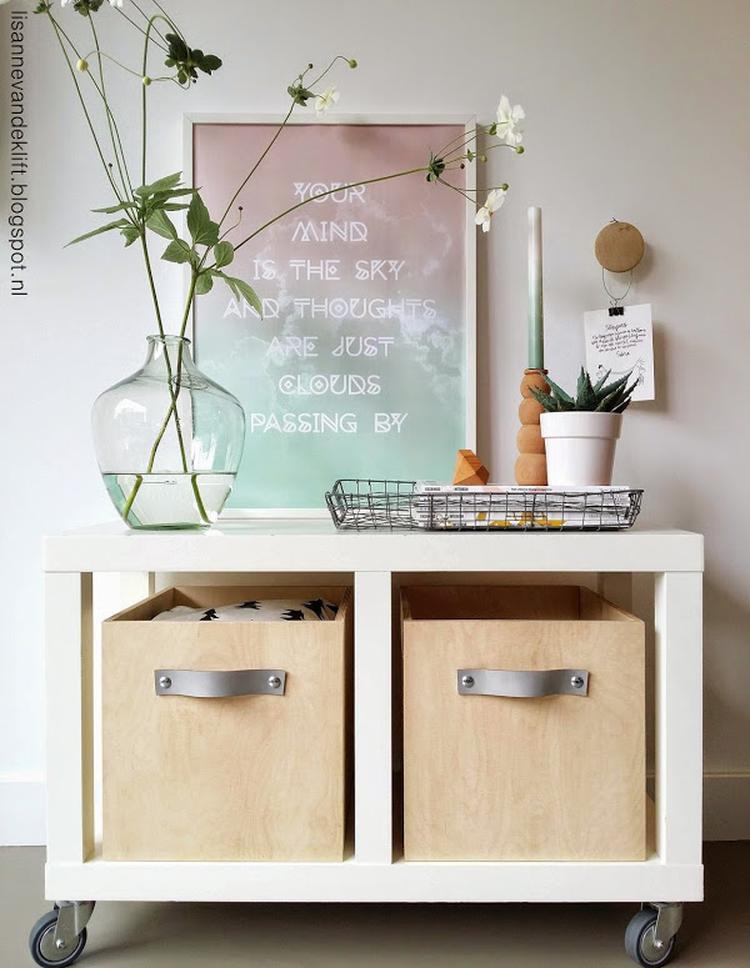 stunning mooie houten bakken met leren greep voor in ikea with ikea kallax kast. Black Bedroom Furniture Sets. Home Design Ideas
