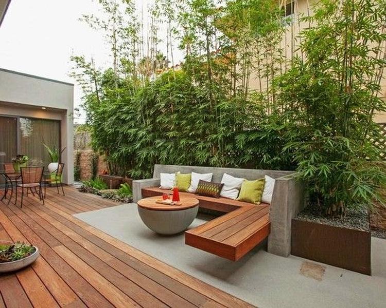 Hout beton tuin terras industrieel modern foto geplaatst door