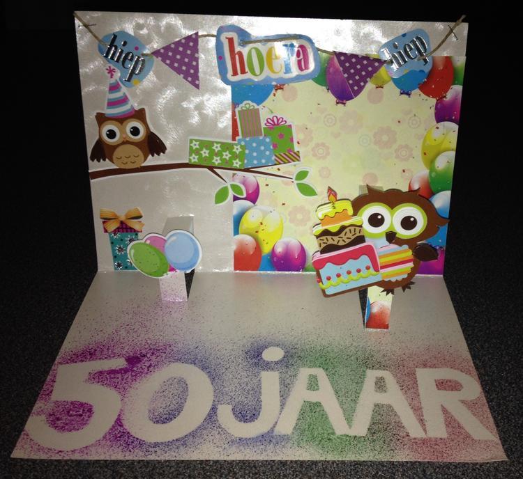 Extreem Leuke 3D pop up kaart om cadeau te doen voor verjaardag, 50 jaar  @LL11