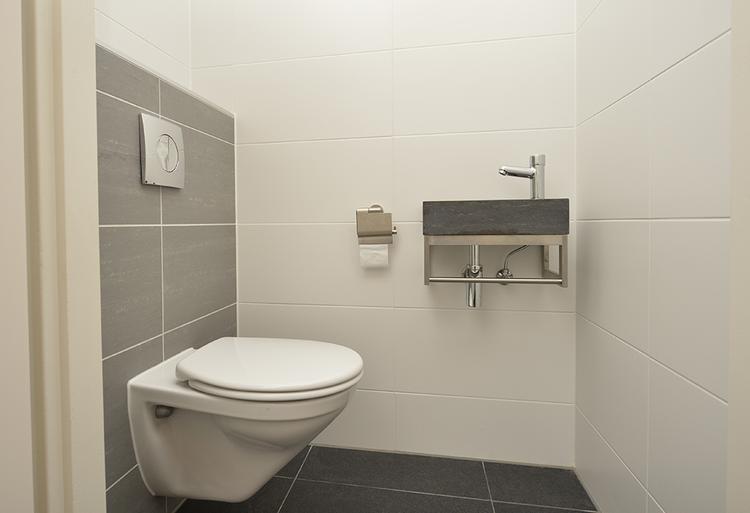 Grijze muren in toilet kleur voor de tegels en vloer mooi