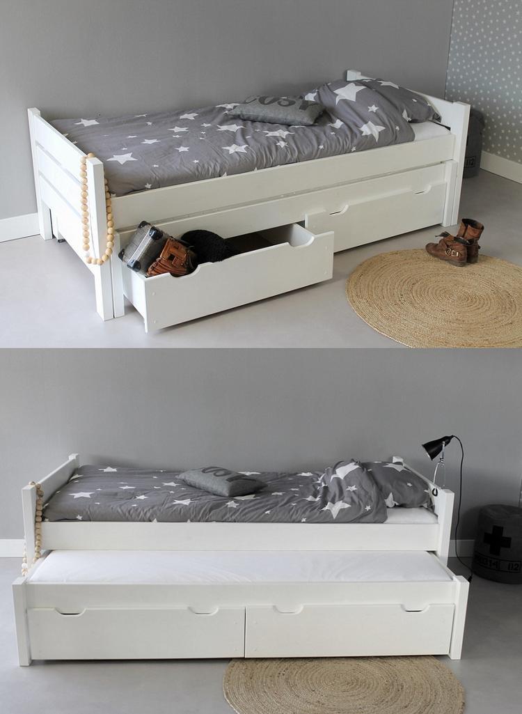 Wonderbaar Handig bed met matras lade voor een loge en 2 opberglade gezien SO-54