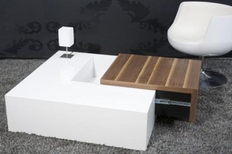 Salon Tafel Hout : Salontafel model secret box hout met hoogglans wit foto