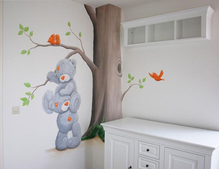 me to you babykamer met vogels in neutrale kleuren oranje en groen, Deco ideeën