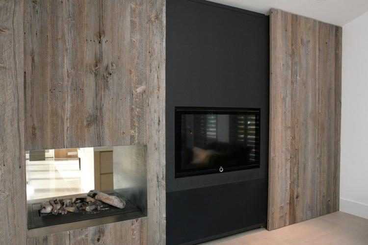 Woonkamer schouw kast for Decoratie naast tv