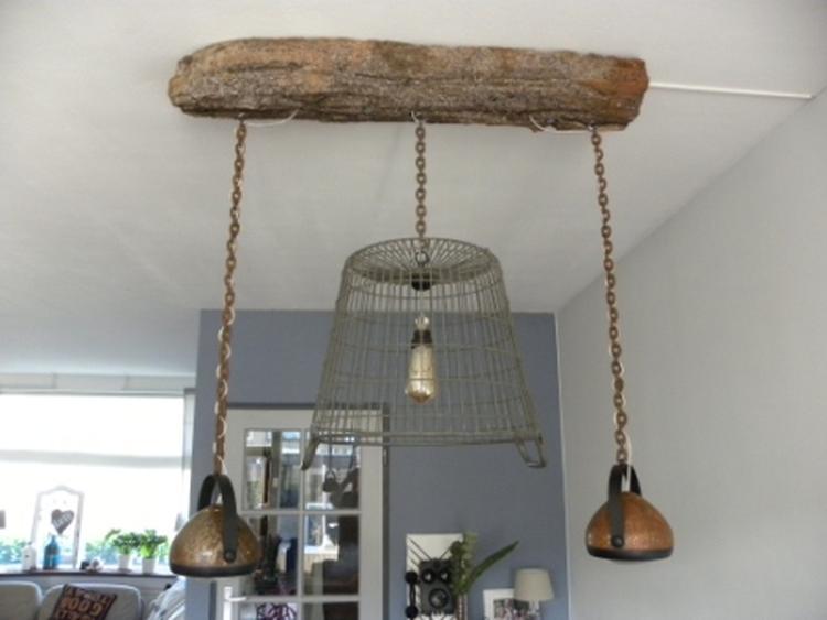 Mooie Industriele Eettafel Lamp Gemaakt Van Een Aardappelmand En 2