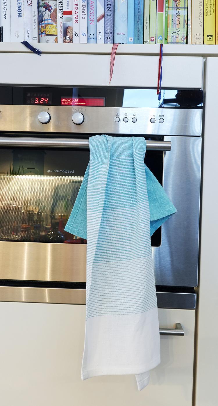 Fotoplank Wit 2 Meter.Blauw Wit Theedoek Van 100 Katoen Ook In Aqua Roze En Lime Foto