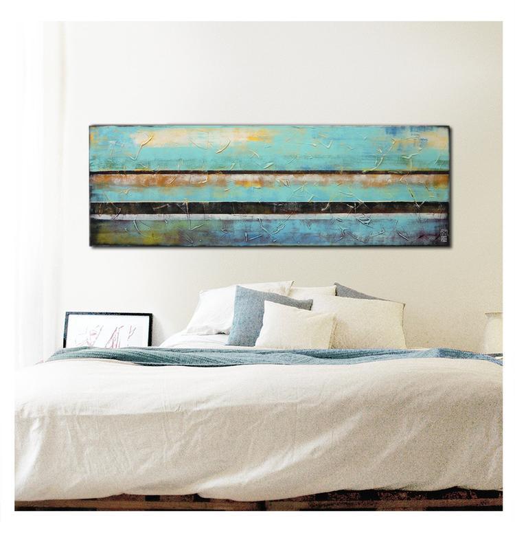 Populair Turquoise abstract schilderij. Landschap kunst. Acryl verf op  @FI47