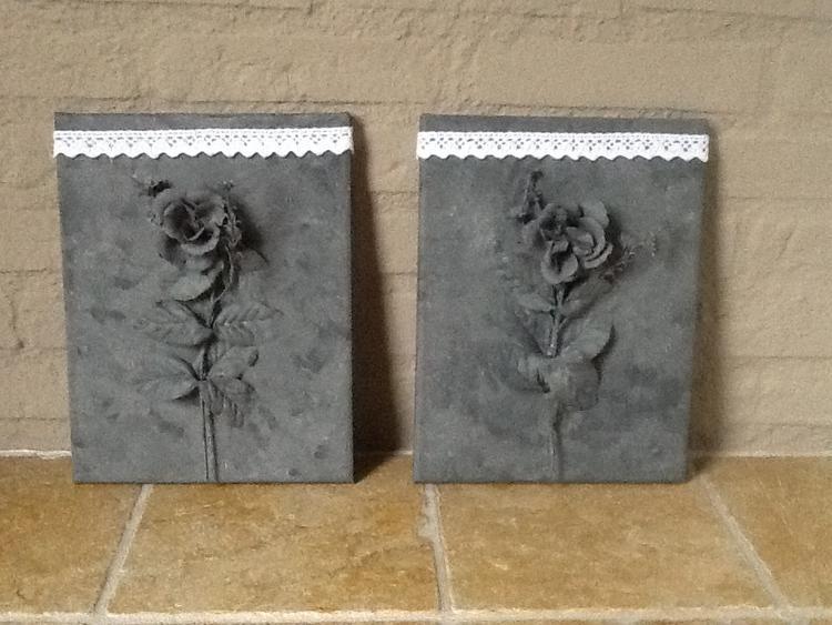 Beroemd Kunststof bloem op canvas en schilderen met grijze verf voor  @OU29