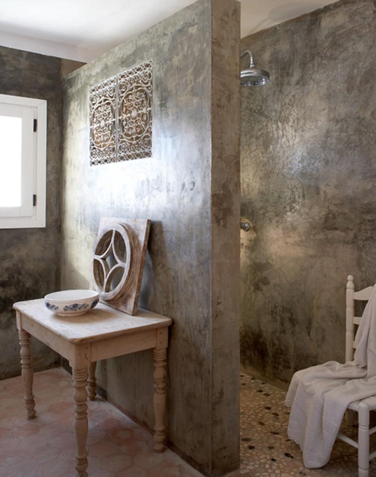 hammam look badkamer gecreeerd met marmerpleister en zilverwas ...