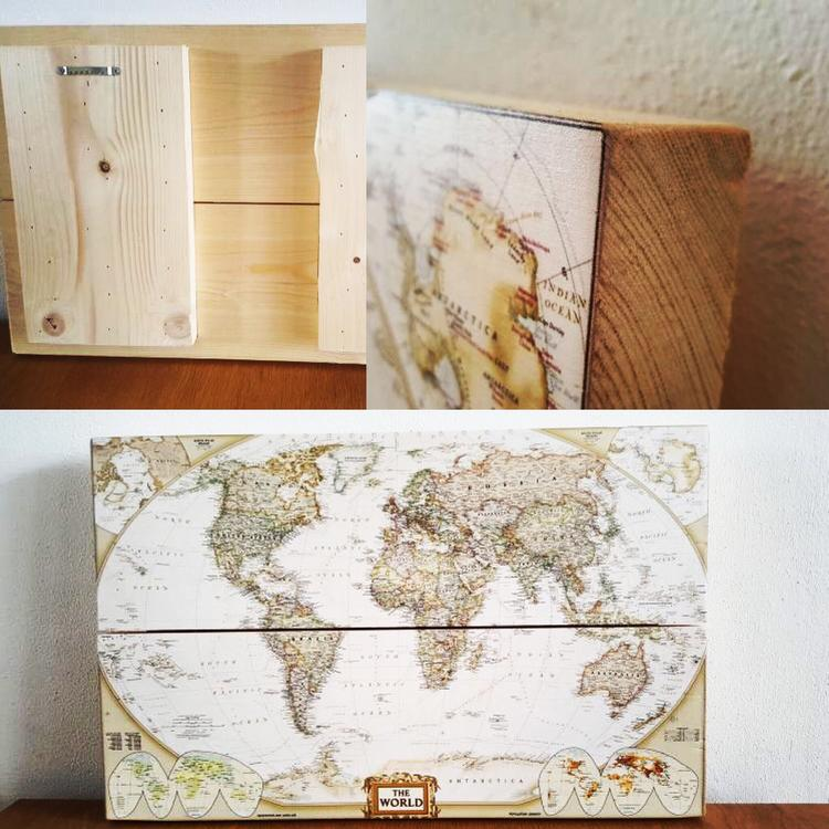 De wereldkaart op hout gedrukt. Ideaal om je eigen roadmap te ...