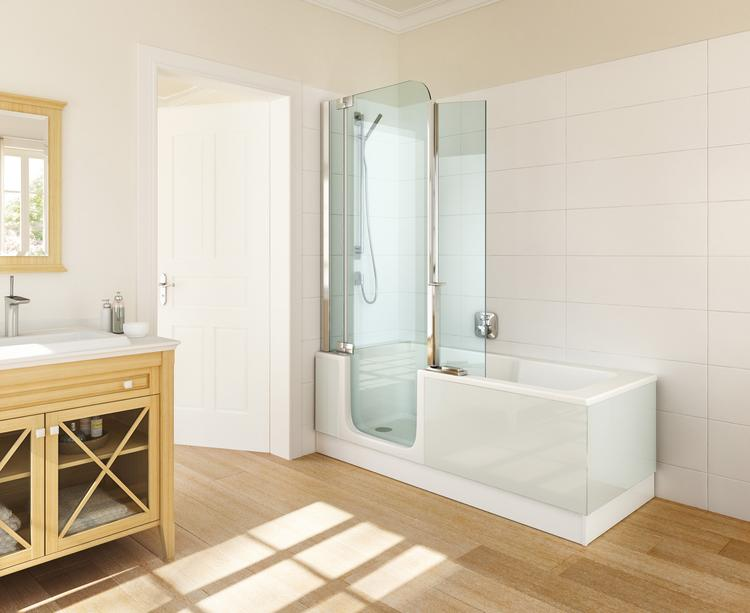Inloopdouche Met Badkuip : Kleine badkamer met bad en inloopdouche
