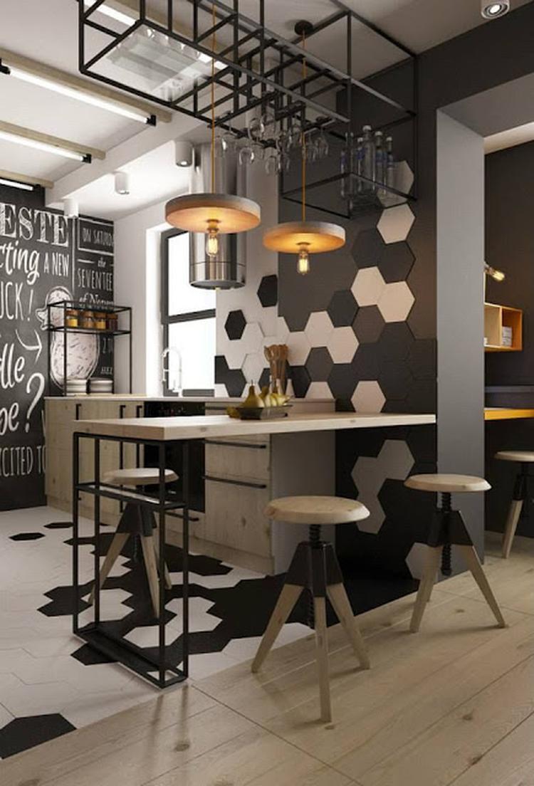 Betonlook tegels op de muur - industrieel interieur - keuken ...