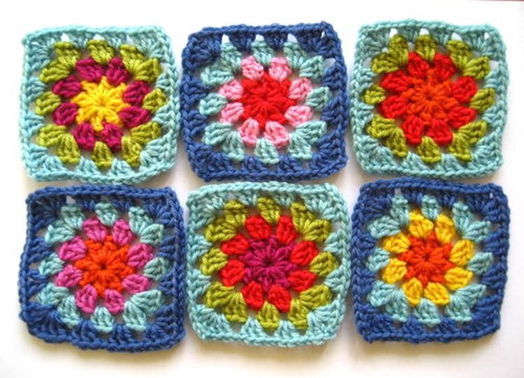 Eenvoudige Bloemen Granny Squares Haken Foto Geplaatst Door