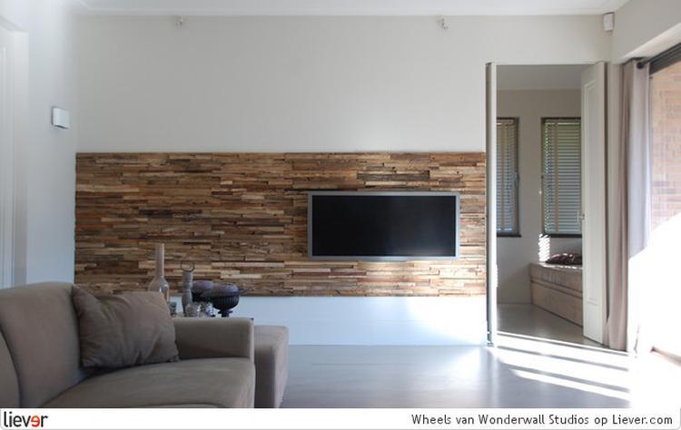 Tv Op Plank Aan Muur.Houten Plank Muur Tv Wand Tv Meubel Op Maat Woninginrichting