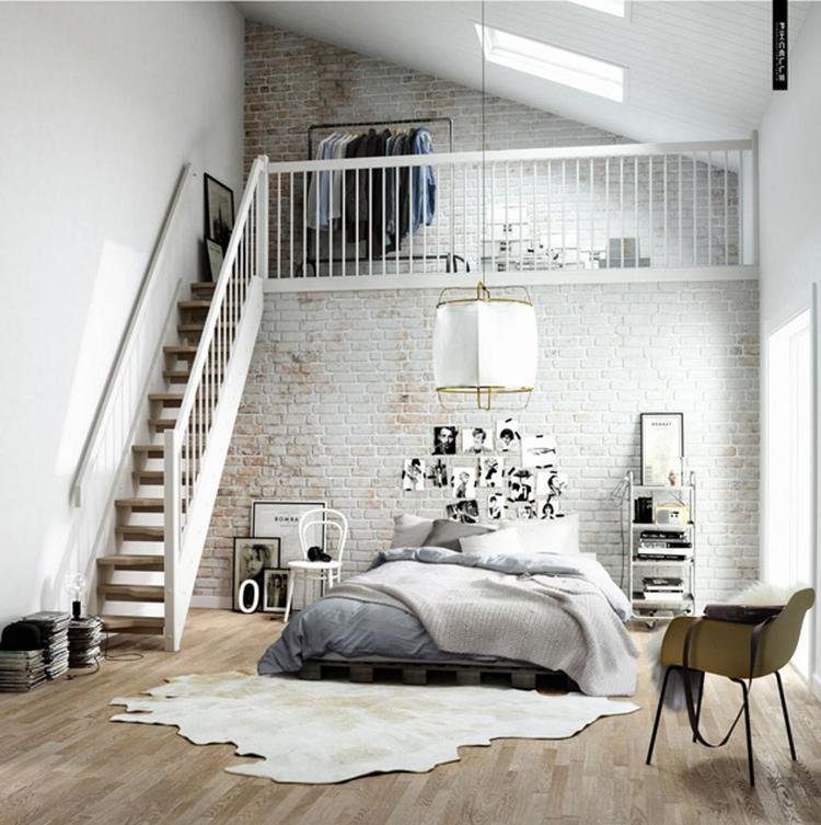 Slaapkamer in een Scandinavisch design met bed van pallets ...